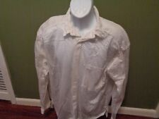 VINTAGE 1990 INK MESH WHITE LONG SLEEVE  Button Shirt ONE SIZE FITS ALL