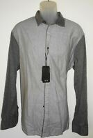 Armani Exchange A/X Long Sleeve Shirt * Light Gray 2 Tone Size XXL Slim Fit NWT