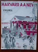 1938 HARVARD v VIRGINIA CAVALIERS football program - great illustration art