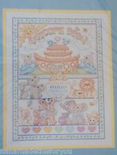 "Noah's Ark Birth Record 11"" x 14"" Counted Cross-Stitch Stitchery Kit Bucilla NOS"