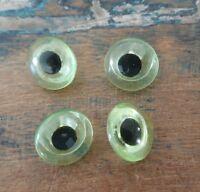 ♥Nr.A39a-Alte Glasaugen Tieraugen gelb Pupille handbemalt Öse 18 mm 4 Stück♥