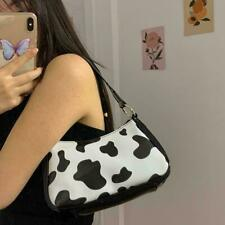 Women Baguette Handbags Fashion Milk Cow Pattern Ladies Forearm Shoulder W5Z7