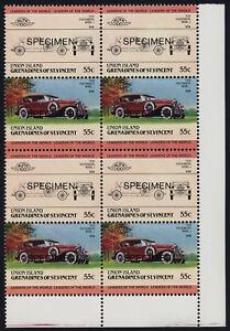 St Vincent Grenadines Union Is 147 BR Block Specimen o/p MNH Car, Dusenberg