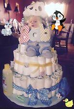 Handmade Baby Boy Gift Basket Diaper Cake ~ Made To Order 👶🏻🐰🐳