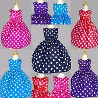 Polka Dot Dress S M L XL 2 4 6 8 Birthday Easter Party Recital Cotton Satin #13
