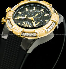Invicta Mens 52mm Bolt Chronograph Carbon Fiber Dial Gold Plated Bezel SS Watch