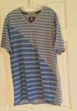 QuickSilver Men's T-SHIRT Stripe Gray Blue XL Surf Wear Clothing V-Neck U0808