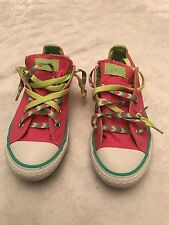 Converse All Star low top sneakers Pink with Lime/Light green trim Youth Sz: 3