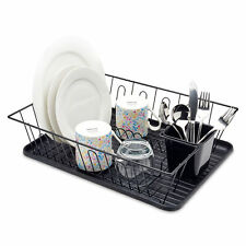 LARGE BLACK KITCHEN DISH DRAINER RACK WITH DRIP TRAY CUTLERY CUP PLATE HOLDER