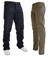 NEW MENS CROSSHATCH BRANDED KHAKI CHINO PANTS TROUSERS INDIGO JEANS SIZE 30R 34S