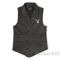 Mens Formal Tweed Wool Blend Stripe Lapel Collar Slim Fit Vest Waistcoat Retro