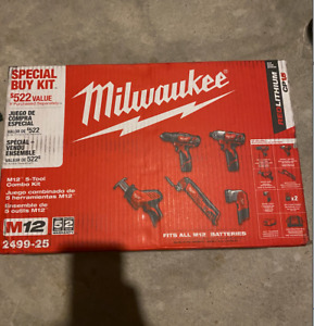 Milwaukee 5 tool M12 Cordless Combo kit with 2 Batteries - BRAND NEW