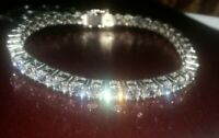10Ct S-Link Tennis Bracelet with Diamonds 14k White Gold Perfect Finish