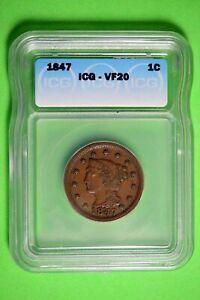 1847 ICG VF20 Braided Hair Large Cent #B26377