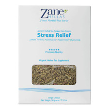 ZANE HELLAS Finest Herbal Teas. Stress Relief. Eases Tension & Anxiety. 3.18.oz