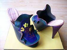 $1550 Fendi Embroidered Ruffled Leather Mules Shoes Satin Heels 39.5 US 9.5 NIB