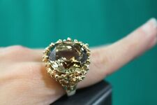 Vintage Nugget Style 14K Yellow Gold Smoky Quartz Cocktail Ring
