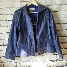 BRADLEY BAYOU Women's Blue Leather Jacket, Size S Coat