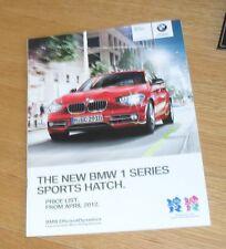 BMW serie 1 Guía de precios FOLLETO 2012 M Deporte Urbano 125d 120d 118d 116d 118i