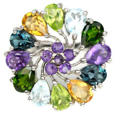 REAL AAA AMETHYST, TOPAZ, PERIDOT, CHROME DIOPSIDE STERLING 925 SILVER RING 7.25