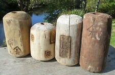 Japanese Fishing Floats WOODEN Lot-4 ANTIQUE Cylinder Kanji-Marked Ancient XLK-B
