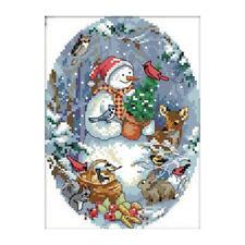 Cross Stitch kits, The snowman's friends,11CT Stamped, Light blue+multicolo L6D2