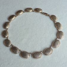 AMAZING Vintage 40s ELOXAL Rose GOLD Tone PINEAPPLE Oval LINK Choker NECKLACE