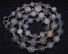 "N-0020 Rainbow MoonStone Natural Gemstone Round Plain Beads 6x8mm 17"" Necklace $"