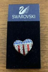 Swarovski Patriotic Red White And Blue Heart Lapel Pin