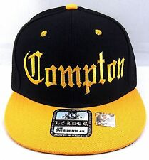 COMPTON Snapback Hat South Central LA Cap Los Angeles City Black Yellow Gold New