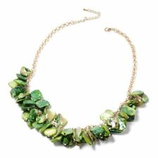 "A6R Designer Inspired-Green Shell Necklace 20"" 14k Gold Plated mop mother pearl"