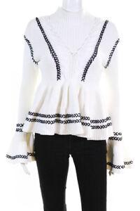 Self Portrait Womens Striped Frill Knit Jumper Sweater White Black Size Small