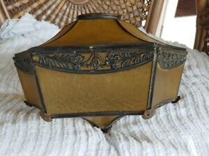"""Antique Slag Glass Lead Light Lamp Shade Amber slag panels flush mount as is 3"""""""
