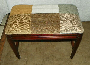 Fluted Solid Mahogany Patchwork Chenille Print Vanity Bench   (JLC-BN85)