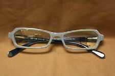 Vintage Style Eyeglasses White & Navy Stripes With Scroll Work So Nice!!!