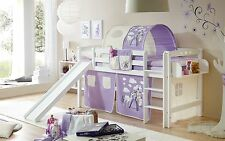 Lit mezzanine avec toboggan THEO R Hêtre massif teinté blanc tissus Cheval Mauve