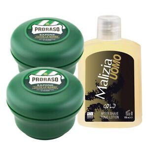 PRORASO Rasierseife Tiegel 2x 150 ml + Malizia Gold After Shave 100ml Pflege Set
