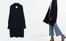 Navy Blue Knitted Long Chunky Ovesized Cardigan Jacket Coat ZARA M 10 12 14 BNWT