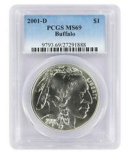 2001-D Buffalo American Silver Commemorative Dollar Ms69 Pcgs Mint State 69
