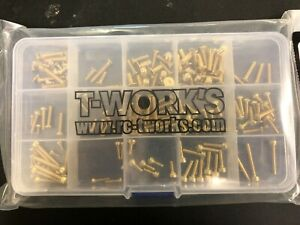 TWorks Gold Screw Sets for Various Cars incl Kyosho, HB Racing, Team Associated