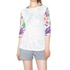 Desigual Damen T-Shirt Halbarm 3/4 Longsleeve Blumenmuste, weiß, bunt