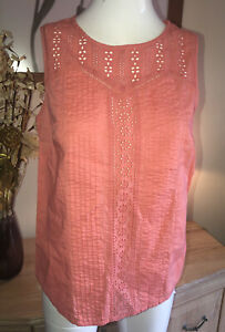 TU WOMAN Sleeveless Peach Vest Top With Neck Design  Size 14