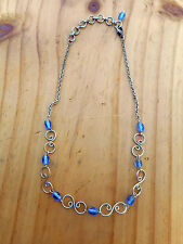 Ladies girls chain & blue clear bead necklace choker with scrolls adjustable