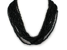 Designer-Style Multi  Strand Seed Beads Black Seed Beed Necklace