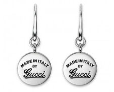 GUCCI EARRINGS STERLING SILVER SIGNATURE LOGO TRADEMARK CRAFT PENDANT