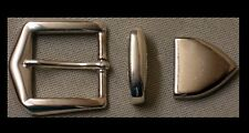 Gürtelschnalle NEU für 3cm breite GÜRTEL Farbe Silber SPITZE + Schlaufe METALL #