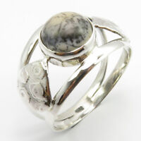 925 Sterling Silver Women Fashion Jewelry Natural Dendritic Agate Ring Size 9.5