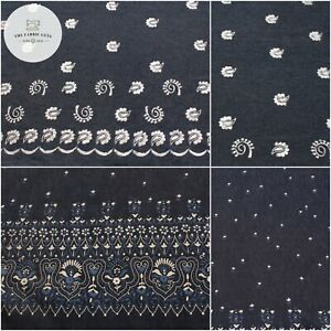 Premium Denim Fabric, with Printed Detail, 2 Designs, Floral, High Quality