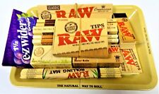 RAW Mini Rolling Tray King Size Hemp Rolling Papers, Tips, Bamboo Mat, Rolls Set