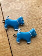 Vintage - Scotty Scottie Dog Ocean Blue Barrette Set Hair Clips